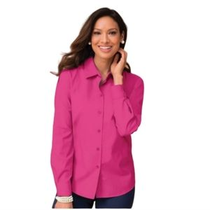 Foxcroft Wrinkle Free Blouse in Bright Pink 8